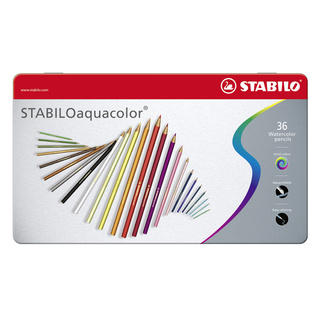Aquarell-Buntstift STABILOaquacolor®, Metalletui mit 36 Stiften