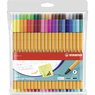 Fineliner - STABILO point 88 - 40er Pack - 40 Farben